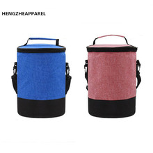Women Men Round Heat Preservation Package Lunch Bag Denim Shoulder Lunch Boxes Picnic Bento Box Insulated Pack Thermal Ice Packs(China)