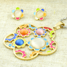 ATGO Fashion Women Gold Color Jewelry Sets Opal Flower Wedding Stainless steel Jewelry Set Gifts For Children Kids BTS113