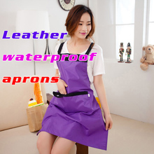 New Kitchen Bib Apron Dress With Pocket Cooking Aprons Leather Apron Waterproof Apron Free Shipping(China)