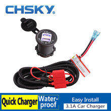 CHSKY Blue LED 5V 3.1A Car Cigarette Lighter USB Charger With High Quality Wiring Harness Dual USB Car Cigarette Lighter Socket