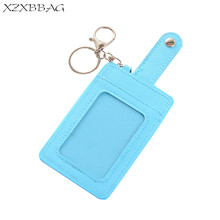 XZXBBAG Girls Cute Card Holder Students Casual Candy Color Thin Card Case Transparent Visual Bus Metro Key Ring Card Bags Covers(China)