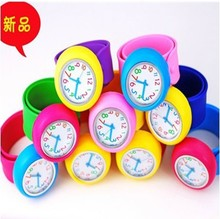 kids slap watch,colorful jelly silicone clap clock free shipping 20pcs/lot