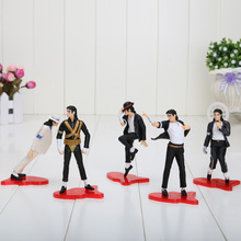 "5pcs/set NEW 4"" 11cm MICHAEL JACKSON FIGURES dolls POSE figures pvc toys model opp bag"