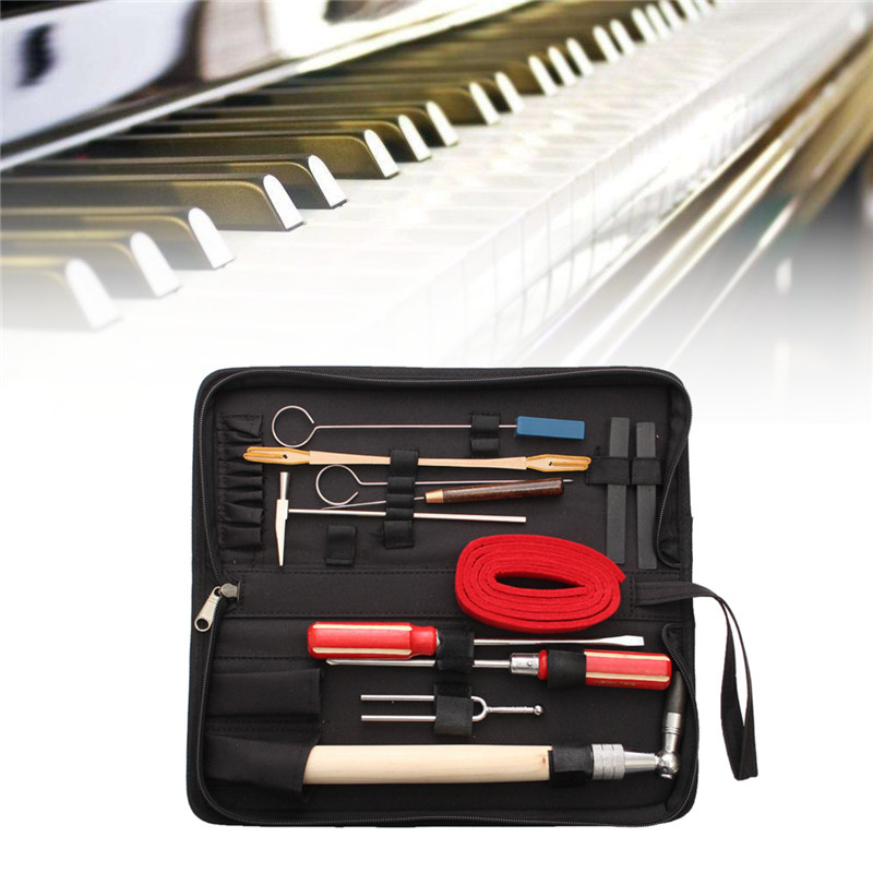 Zebra 13pcs/Set Piano Tuning Maintenance Tools Kit with Case For Piano Musical Instruments Parts Accessories<br>