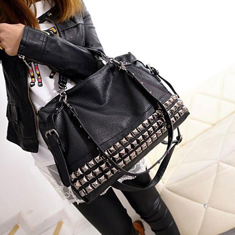 Rivet Womens PU Leather Handbag New 2018 Fashion Silver/Black Cowhide Women Messenger Bags One Shoulder Handbag Big Bags Z474<br>