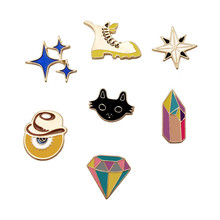 1 PC Cartoon Diamond Shaped Brooch Badge Shoes Badges for Backpack Icons on Backpack Metal Icon(China)