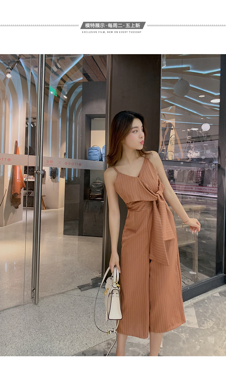 Sling Off Shoulder Sleeveless Striped Jumpsuit 2019 New Fashion V-Neck High Waist Nine Points Wide Leg Jumpsuit Summer 11 Online shopping Bangladesh