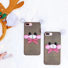 3D Cute Sky Bear Velvet Protective Phone Case For iphone X 8 7 6 Plus Bowknot Bear Ears Coquette(China)