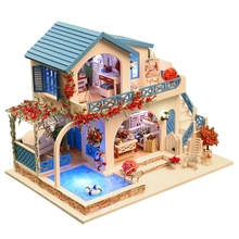 Blue & white town Santorini large villa Large DIY Wood Doll house 3D Miniature Lights+Furnitures Building model Home&Store deco