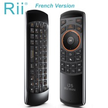 Original Rii Mini i25 2.4Ghz Air Fly Mouse Remote Control with English Keyboard for Samsung Smart TV Android TV BOX RT-MWK25