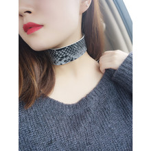 New Arrivals PU Leather Choker Necklace Vintage Hyperbole Imitation Snake skin Necklaces For Women Collar jewelry
