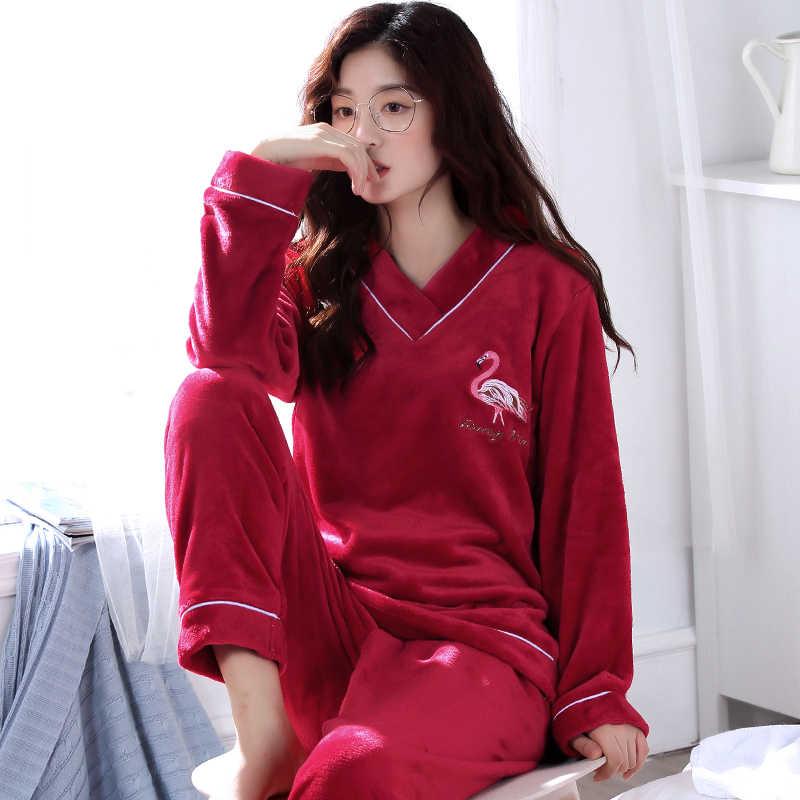 b67b60bf818b Winter Warm Flannel Elegant Women Sleepwear Pajamas lady Cartoon Red Pajama  Set Pullover Coral Fleece Pijamas