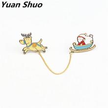 Japanese cartoon lovely collar needle suit shirt pin Men and women brooch Santa sleigh little deer dog accessories(China)