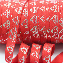 Free shipping by ePacket 16mm silver foe foil printed jewel fold over elastic ribbon 50 yards