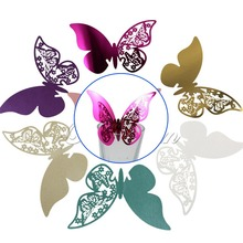 30 Pieces Table Mark Wine Glass Laser Cut Butterfly Name Place Cards for Wedding Party Decoration Products Supplies