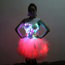 Free Shipping 7color LED lighting clothing show clube stage dancer wear ballet dress wedding suit