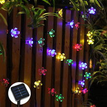 Solar Powered 16.4ft 50 LED Peach Blossom String Lights for Gardens, Lawn, Patio, Christmas Trees, Weddings, Parties Decorations(China)