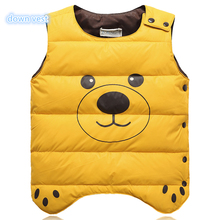 2017 children's new kids cloth down vest boys girls in spring and autumn with Cartoon anime dog bear Lightweight  for 2~10Y