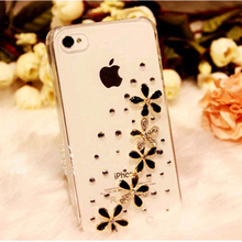 New Luxury 3D 5 Wildflower Bling Crystal Diamond flower Case Cover For iPhone 3GS 3 3G retail box Accessory
