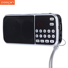 ZEEPIN L-088 Portable Digital Stereo Mini FM Radio Speaker Music Player with TF Card USB AUX Input Sound Box Black Red Blue(China)