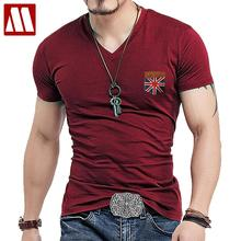 Mens Fashion UK Union Flag Leather Short Sleeve T-shirt Men Casual Slim Shirt V Neck Hommre mock pocket Tees shirts Big Size 5XL(China)