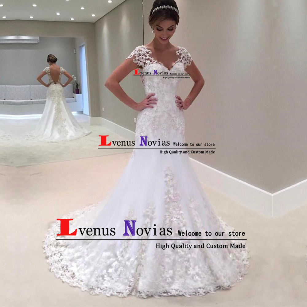 Cheap Bride Dresses Custom Made Vestido De Noiva Sexy V Back Short Sleeves Lace Beaded Mermaid Wedding Dress 2019 abiti da sposa