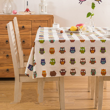 Simanfei 2017 New Home Cute Owl Cotton Printed Tablecloths Toalha de Mesa Retangular Children Patry Outdoor Table Cloth