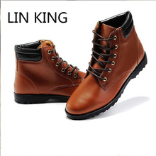 LIN KING  Style High Top Men Boots Fashion Punk Lace Up Ankle Shoes Cow Split Leathe Shoes Casual Solid Color Martin Boots