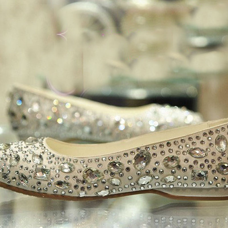 Sparkling satin rhinestone crystal bridal shoes flat heel female flat crystal wedding shoes Formal Evening Party<br><br>Aliexpress