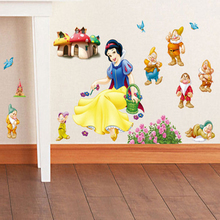 Snow White and Seven Dwarfs Wall Sticker Home Decor Cartoon Wall Decal DIY for Kids Room Decal Baby Vinyl Mural Nursery xy3006(China)