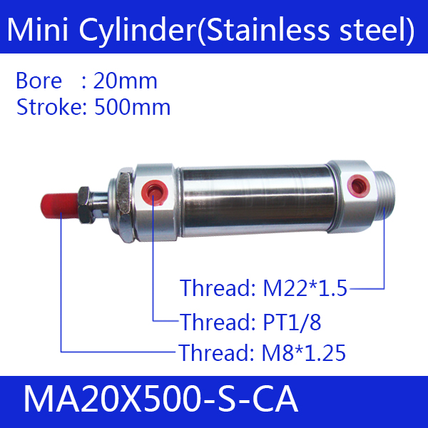 Free shipping Pneumatic Stainless Air Cylinder 20MM Bore 500MM Stroke , MA20X500-S-CA, 20*500 Double Action Mini Round Cylinders<br>