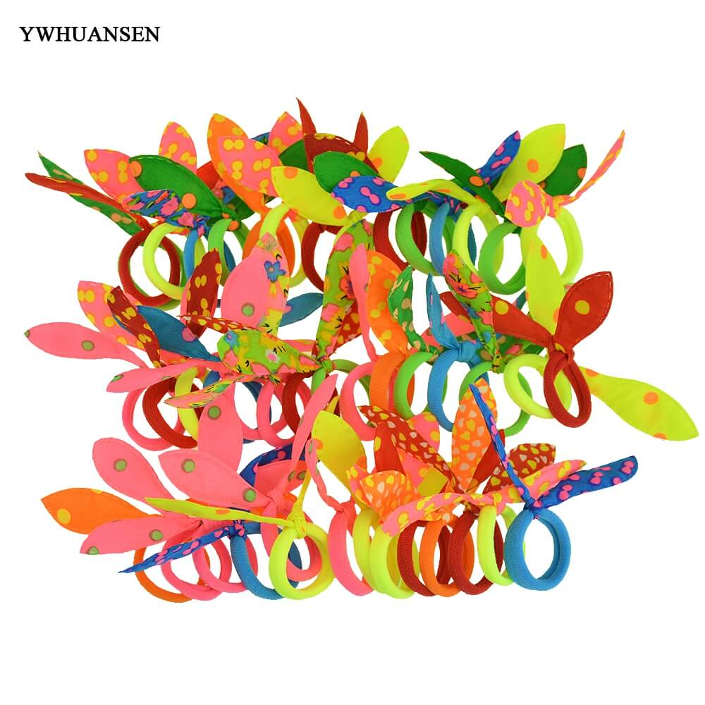 YWHUANSEN 50pcs/lot Small Rabbit Ears Scrunchy Mini Elastic Hair Band Ties Little Girls Hair Accessories Headdress Rubber Bands(China (Mainland))