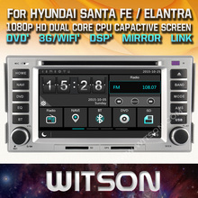 WITSON CAR DVD GPS for HYUNDAI SANTA FE/ELANTRA with Capctive Screen+1080P+DSP+WiFi+3G+DVR+Good Price+Free shipping