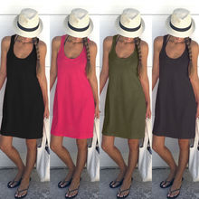 Buy Summer Womens Clothing Pure color Beach Dress Boho Sleeveless Party Cocktail Casual Short Mini Dress New for $5.08 in AliExpress store