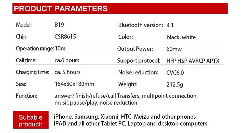 Zealot B19 Wireless Headphones LCD Display Screen HiFi Bass Stereo Earphone Bluetooth Headset with Mic + FM Radio + TF Card Slot 24
