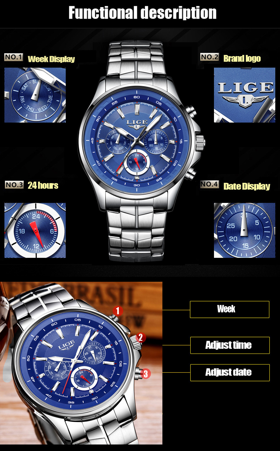 LIGE Mens Watches Waterproof Top Brand Luxury Quartz Watch Men Sport Watch Fashion Casual Military Clock Male Relogio Masculino 7
