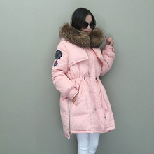 Winter Jacket Women Coat Natural Real Raccoon Fur Collar Hooded Warm Goose Down Jacket Parka Womens Winter Coats And Jackets