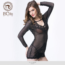 Buy Leechee Q874 women's langerie fantastic sexy erotic black lace teddy suit lenceria porno perspective porn costumes sexy shop