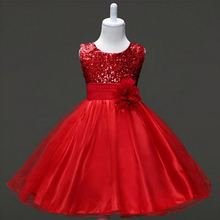 3-12Y Girls Clothes Girl Dress Purple Blue Red Dress Princess Sress Roupas Infantis Menina Flower Girls Sequined dresses YAA041(China)