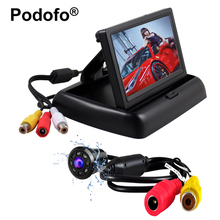"Podofo Waterproof Car Rear View Backup Camera Reverse Parking System + 4.3"" HD Foldable Car Monitor Vehicle Camera Car-styling(China)"