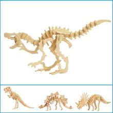 Dinosaur 3D Wooden Puzzle DIY Simulation Model Children Educational Toys 3D Jigsaw Kids Gifts Free Shipping(China)