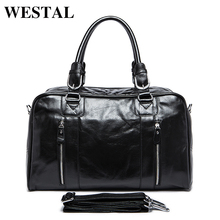 WESTAL Genuine leather Man Bag Leather Men's Large Travel Bags Vintage Language Handbag Male Crossbody Shoulder Bag 9048(China)