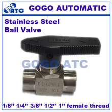 "Ball valve 1/8"" 1/4"" 3/8"" 1/2"" 3/4"" 1"" inch female thread stainless steel 304 high pressure high temperature 2 way ball valve(China)"