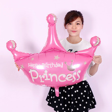 1pcs/lot pink and purple helium baloon princess crown foil balloons for happy birthday party decoration globos