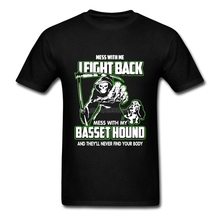 New Style Fashionable Basset Hound T-shirts For Men Vintage O-neck Cotton 3XL Short Sleeve Custom Zombie Fight Funny T Shirts