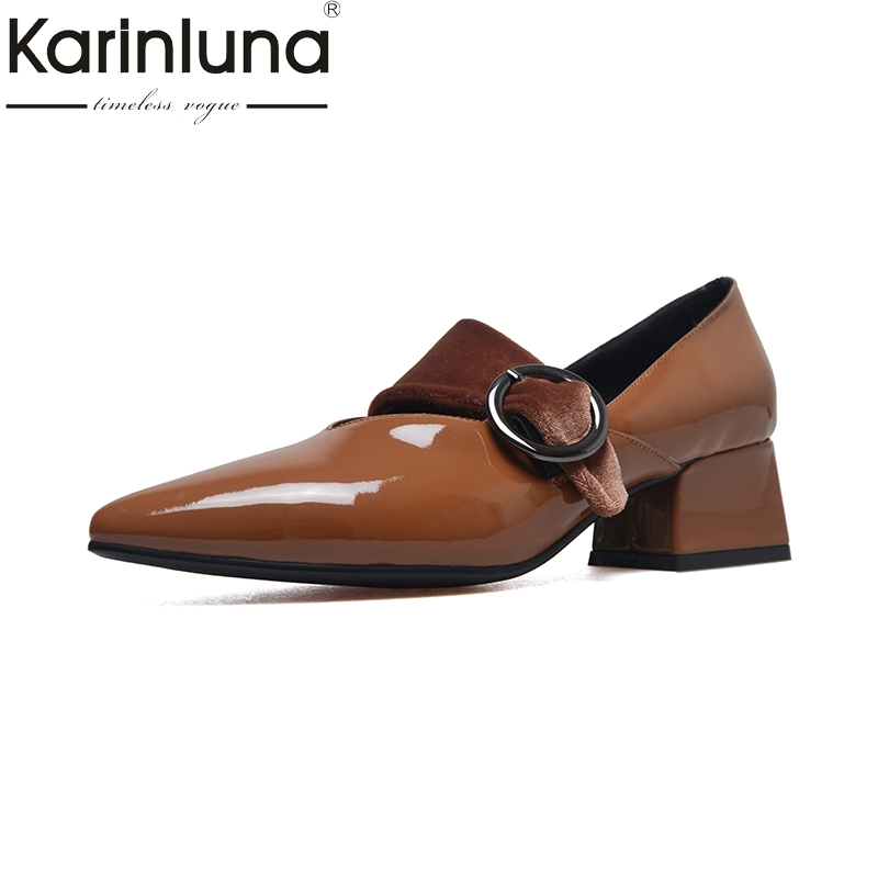 KarinLuna 2018 Womens buckle strap patent leather mid Heels Pointed Toe Office Party Pump Shoes Woman Size 32-43<br>