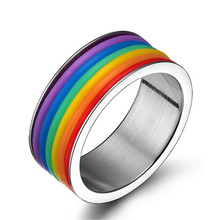 Buy MHS.SUN Free 316L Titanium Steel Rings Stainless Steel ring Classic Rainbow Jewelry Wholesale Never Fade Male Men for $3.22 in AliExpress store