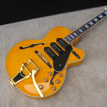 Giggle Chibson E5 Hollow Body Jazz Bigsby tremolo P90 Pickups High Quality Chinese Electric Guitarras Freeshipping Guitare