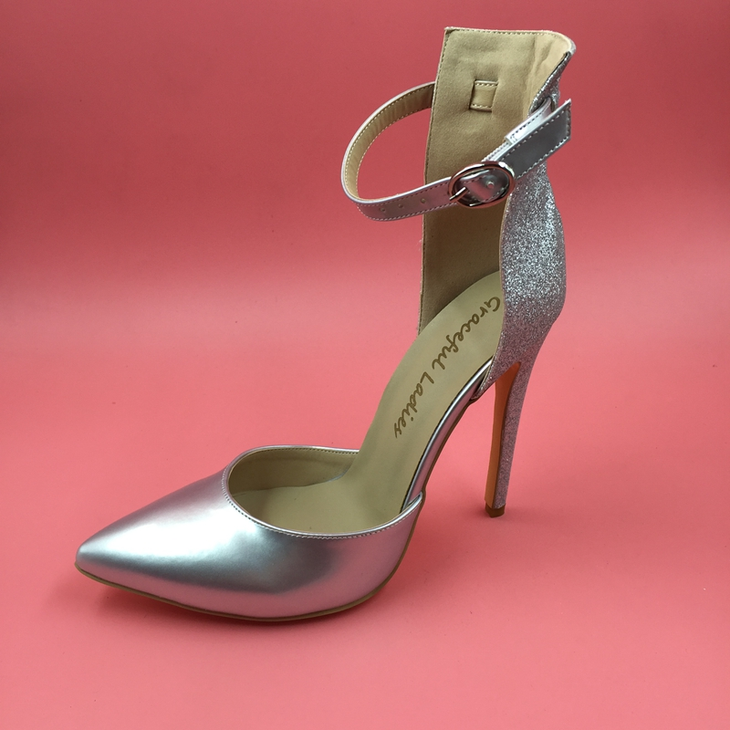 Silver Ankle Strap Tow-piece Women Pumps High Heels Ladies Shoes 260f927c25ed