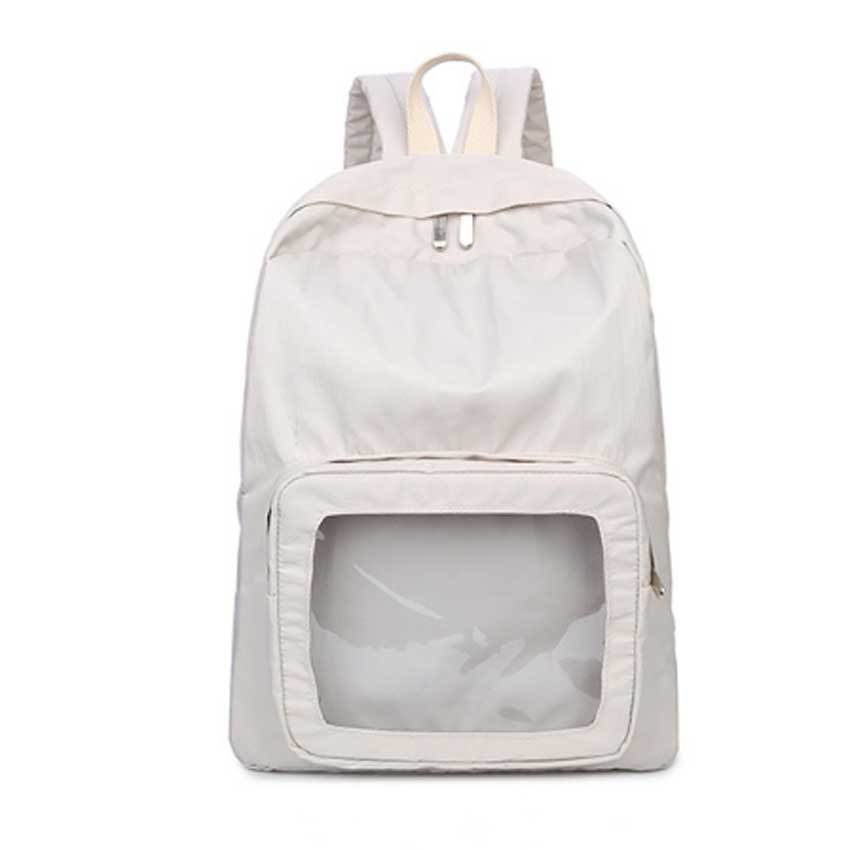 Korea Style Women Nylon Solid Travel Backpacks Transparent Decoration High School Bags For Teenagers Girls Casual Backpacks<br>